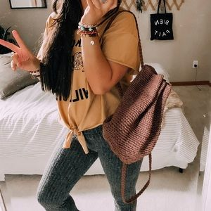 Boho wicker woven slouchy hippie backpack